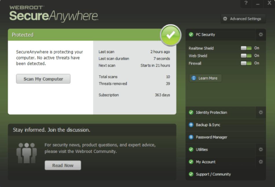 webroot interface